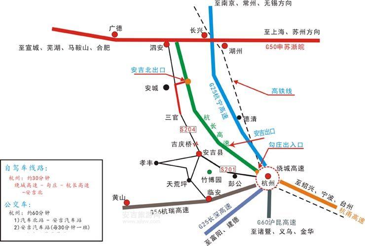 杭州到安吉自驾游路线